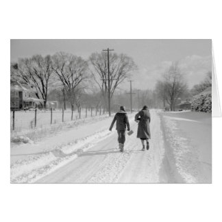 Walking Home From School, 1940 Card