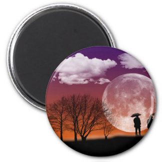 Walking in front of the moon Digital Art 2 Inch Round Magnet