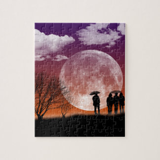 Walking in front of the moon Digital Art Jigsaw Puzzle