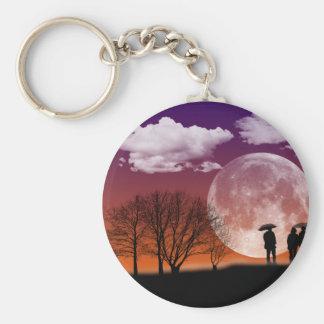 Walking in front of the moon Digital Art Keychain