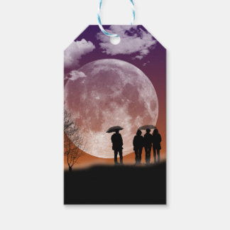 Walking in front of the moon Digital Art Pack Of Gift Tags