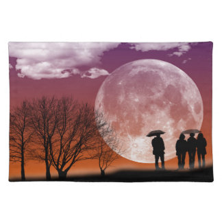 Walking in front of the moon Digital Art Placemat