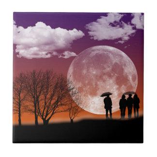 Walking in front of the moon Digital Art Tiles