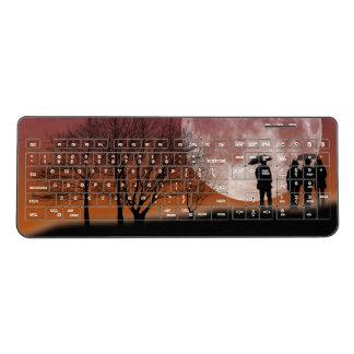 Walking in front of the moon Digital Art Wireless Keyboard