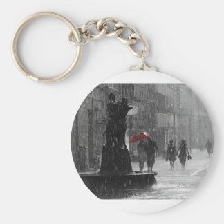 Walking In The Rain Basic Round Button Keychain