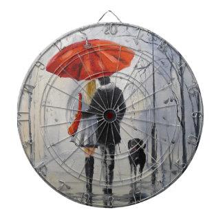 Walking in the rain dart board