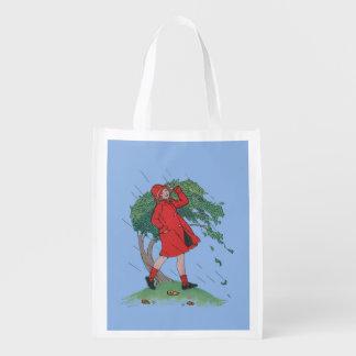 walking in the rain reusable grocery bag