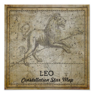 Walking Leo Lion Constellation Star Map August Poster