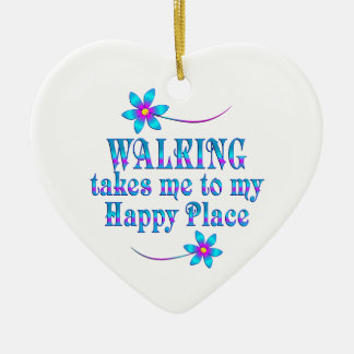 Walking My Happy Place Ceramic Ornament