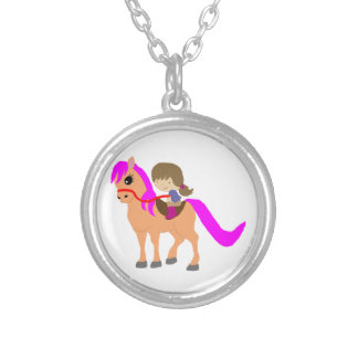 Walking on my pony silver plated necklace