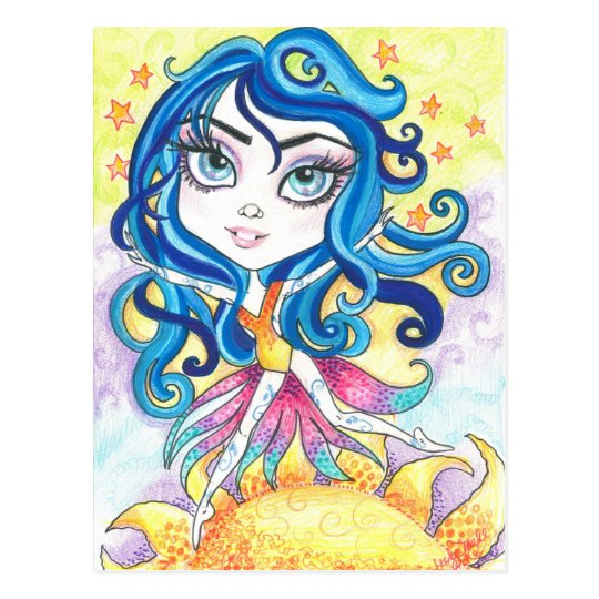 Walking On Sunshine Big Eye Fantasy Art Postcard