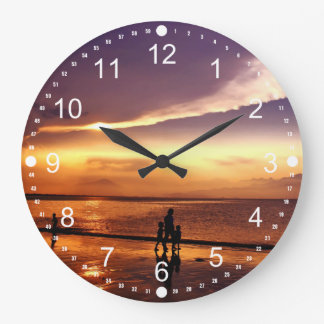 Walking on the Beach at Sunset Large Clock