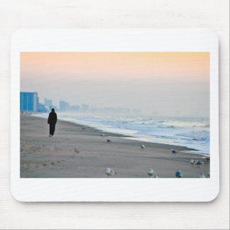 Walking on the Beach at Sunset Mouse Pad