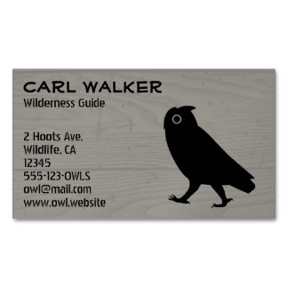 Walking Owl Silhouette Wood Style Magnetic Business Card