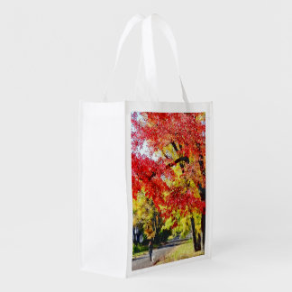 Walking The Dog In Autumn Reusable Grocery Bags