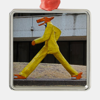Walking the Dogs by Gilbert Magu Sanchez -horizont Silver-Colored Square Ornament