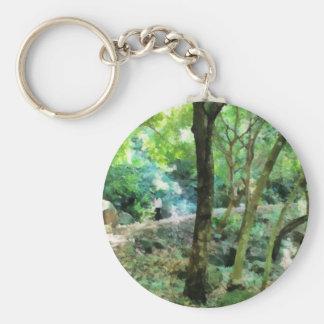 Walking through the forest basic round button keychain
