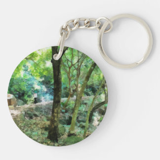 Walking through the forest Double-Sided round acrylic keychain