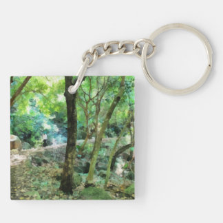 Walking through the forest Double-Sided square acrylic keychain