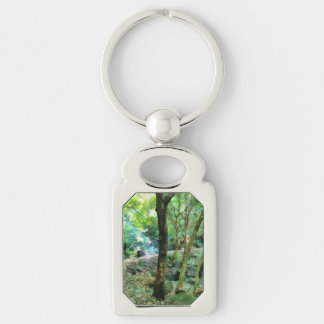 Walking through the forest Silver-Colored rectangle keychain