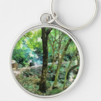 Walking through the forest Silver-Colored round keychain