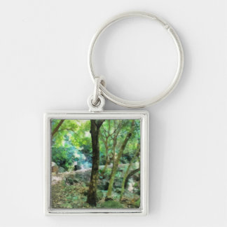 Walking through the forest Silver-Colored square keychain