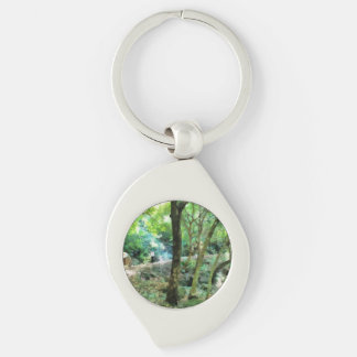 Walking through the forest Silver-Colored swirl keychain
