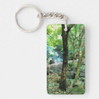Walking through the forest Single-Sided rectangular acrylic keychain