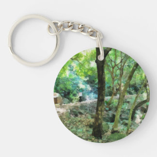 Walking through the forest Single-Sided round acrylic keychain