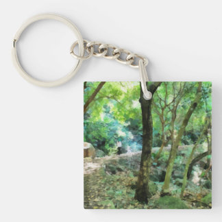 Walking through the forest Single-Sided square acrylic keychain