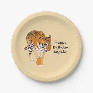 Walking Tiger Personalized Birthday Plates