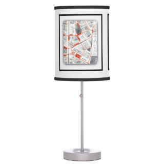 Walking Tour Map of 'The Campus' 1930 Table Lamp