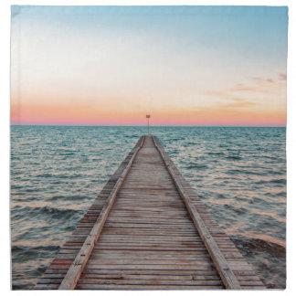 Walking towards the infinity of the sea napkin