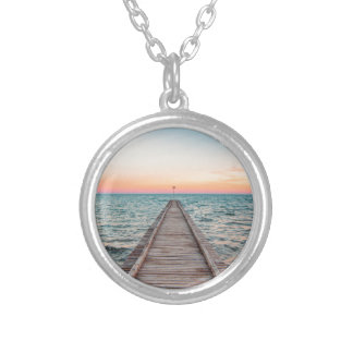 Walking towards the infinity of the sea silver plated necklace