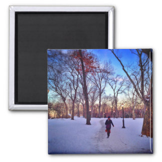 Walking Under A Winter Sunset Square Magnet
