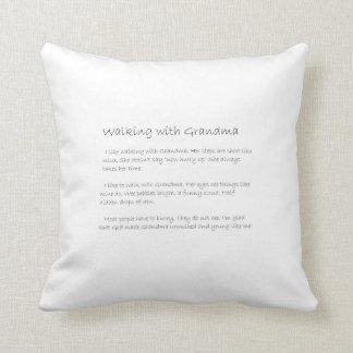 walking with grandma throw pillow