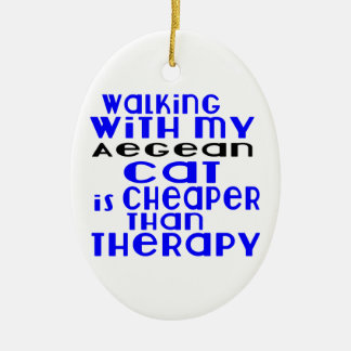 Walking With My Aegean Cat Designs Ceramic Oval Ornament