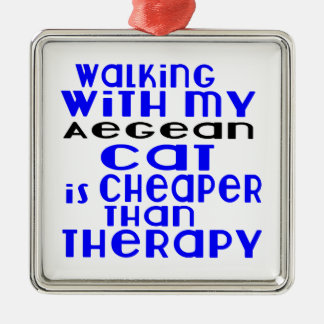 Walking With My Aegean Cat Designs Silver-Colored Square Ornament