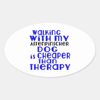 Walking With My Affenpinscher Dog Designs Oval Sticker