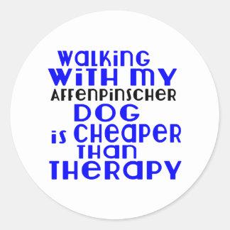 Walking With My Affenpinscher Dog Designs Round Sticker