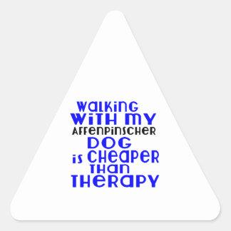 Walking With My Affenpinscher Dog Designs Triangle Sticker