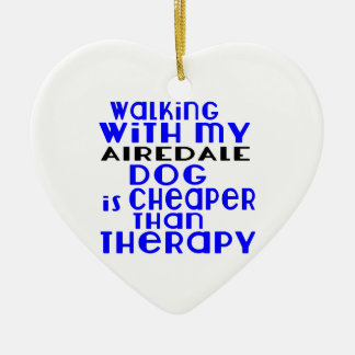 Walking With My AIREDALE Dog Designs Ceramic Heart Ornament