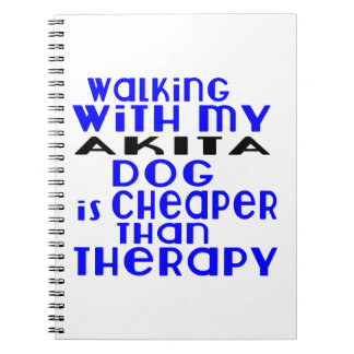 Walking With My AKITA Dog Designs Spiral Notebook