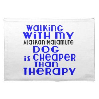 Walking With My Alaskan Malamute Dog Designs Place Mats