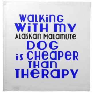 Walking With My Alaskan Malamute Dog Designs Printed Napkins