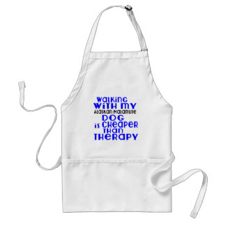 Walking With My Alaskan Malamute Dog Designs Standard Apron