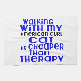 Walking With My American Curl Cat Designs Kitchen Towels