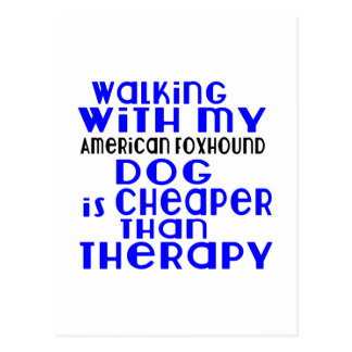 Walking With My American foxhound Dog Designs Postcard