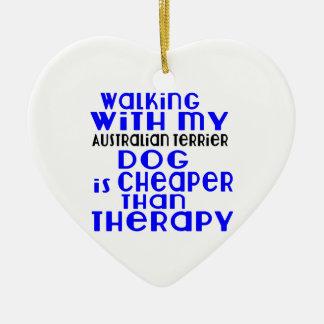 Walking With My Australian Terrier Dog Designs Ceramic Heart Ornament