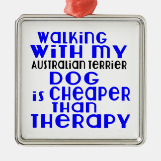 Walking With My Australian Terrier Dog Designs Silver-Colored Square Ornament